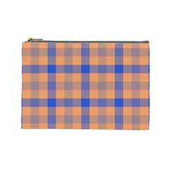 Fabric Colour Orange Blue Cosmetic Bag (Large)