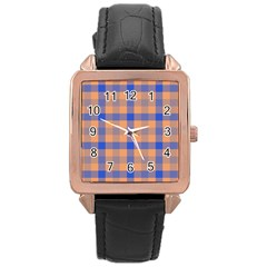 Fabric Colour Orange Blue Rose Gold Leather Watch