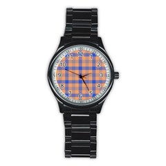 Fabric Colour Orange Blue Stainless Steel Round Watch
