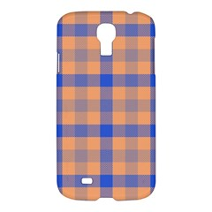 Fabric Colour Orange Blue Samsung Galaxy S4 I9500/I9505 Hardshell Case