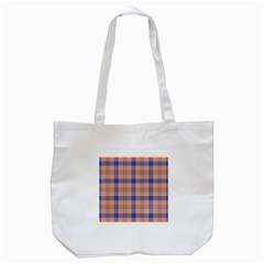 Fabric Colour Orange Blue Tote Bag (White)