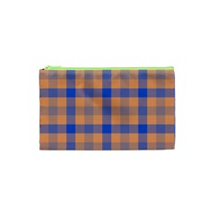 Fabric Colour Orange Blue Cosmetic Bag (XS)