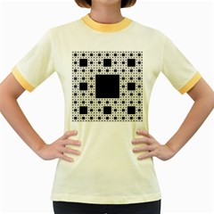 Hole Plaid Women s Fitted Ringer T-Shirts