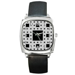 Hole Plaid Square Metal Watch