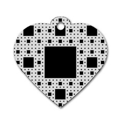 Hole Plaid Dog Tag Heart (One Side)