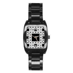 Hole Plaid Stainless Steel Barrel Watch