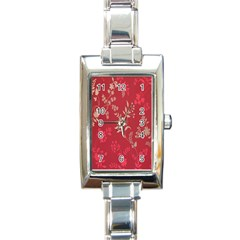 Leaf Flower Red Rectangle Italian Charm Watch