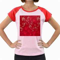Leaf Flower Red Women s Cap Sleeve T-Shirt