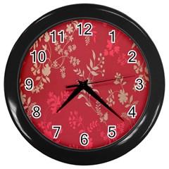 Leaf Flower Red Wall Clocks (Black)