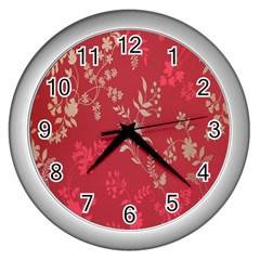 Leaf Flower Red Wall Clocks (Silver)