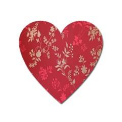 Leaf Flower Red Heart Magnet
