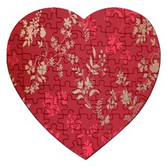 Leaf Flower Red Jigsaw Puzzle (Heart)
