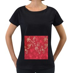 Leaf Flower Red Women s Loose-Fit T-Shirt (Black)