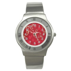 Leaf Flower Red Stainless Steel Watch