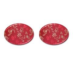 Leaf Flower Red Cufflinks (Oval)