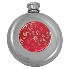 Leaf Flower Red Round Hip Flask (5 oz)