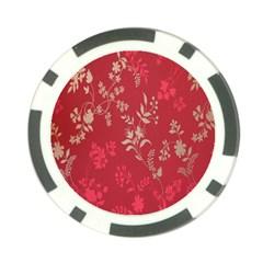 Leaf Flower Red Poker Chip Card Guard