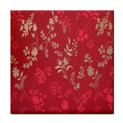 Leaf Flower Red Face Towel