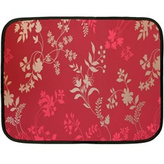 Leaf Flower Red Fleece Blanket (Mini)