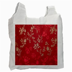 Leaf Flower Red Recycle Bag (One Side)