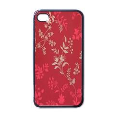 Leaf Flower Red Apple iPhone 4 Case (Black)