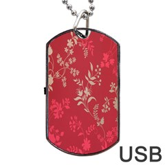 Leaf Flower Red Dog Tag USB Flash (Two Sides)