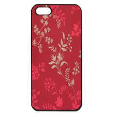 Leaf Flower Red Apple iPhone 5 Seamless Case (Black)