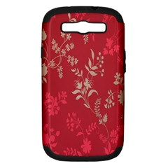Leaf Flower Red Samsung Galaxy S III Hardshell Case (PC+Silicone)
