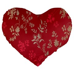 Leaf Flower Red Large 19  Premium Heart Shape Cushions