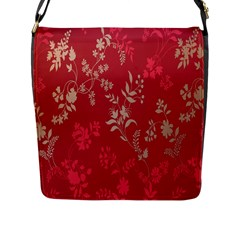 Leaf Flower Red Flap Messenger Bag (L)