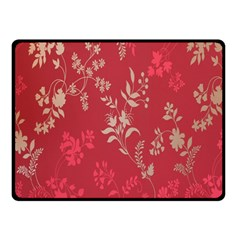 Leaf Flower Red Double Sided Fleece Blanket (Small)