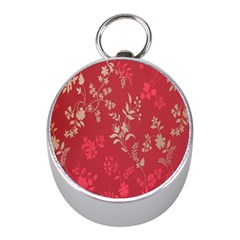 Leaf Flower Red Mini Silver Compasses