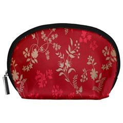 Leaf Flower Red Accessory Pouches (Large)