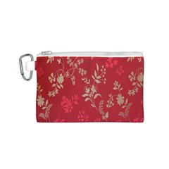 Leaf Flower Red Canvas Cosmetic Bag (S)