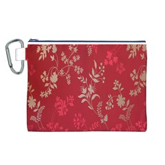 Leaf Flower Red Canvas Cosmetic Bag (L)