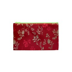 Leaf Flower Red Cosmetic Bag (XS)