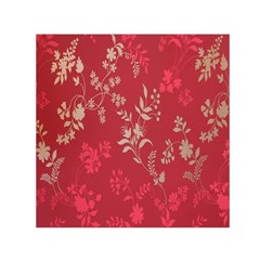 Leaf Flower Red Small Satin Scarf (Square)