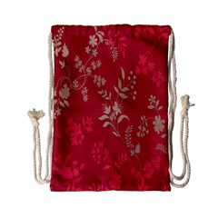 Leaf Flower Red Drawstring Bag (Small)