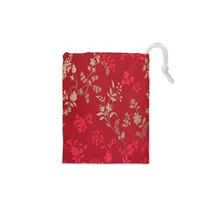 Leaf Flower Red Drawstring Pouches (XS)