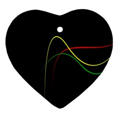 Line Red Yellow Green Ornament (Heart)