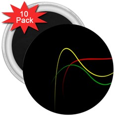 Line Red Yellow Green 3  Magnets (10 pack)