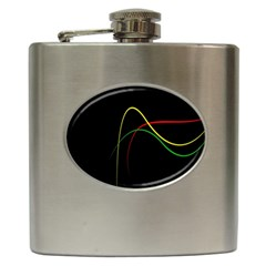 Line Red Yellow Green Hip Flask (6 oz)