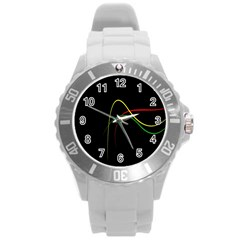 Line Red Yellow Green Round Plastic Sport Watch (L)