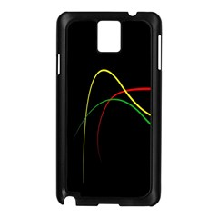 Line Red Yellow Green Samsung Galaxy Note 3 N9005 Case (Black)