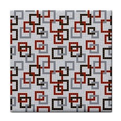 Links Rust Plaid Grey Red Tile Coasters