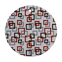 Links Rust Plaid Grey Red Ornament (Round)