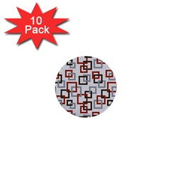 Links Rust Plaid Grey Red 1  Mini Buttons (10 pack)