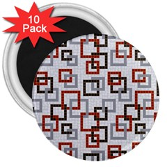 Links Rust Plaid Grey Red 3  Magnets (10 pack)