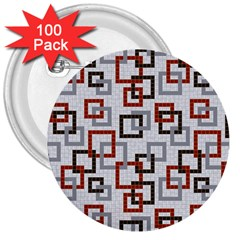 Links Rust Plaid Grey Red 3  Buttons (100 pack)