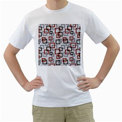 Links Rust Plaid Grey Red Men s T-Shirt (White) (Two Sided)